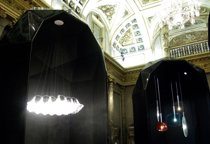 Czech glass lighting specialist Lasvit held their exhibition at Palazzo Serbelloni.