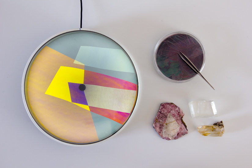 Thomas Vailly Studio's  'Colour of the Day' clock and the crystal elements that inspired it.