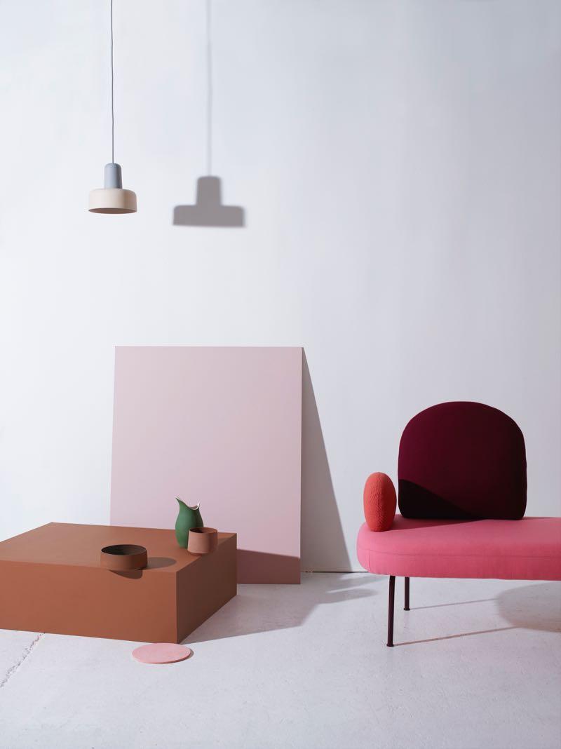 'Meld' pendant lights buy Noidoi, ceramic vessels 'Pour' byGunzler.Polmar, 'Between sofa' sofa by Sara Polmar.