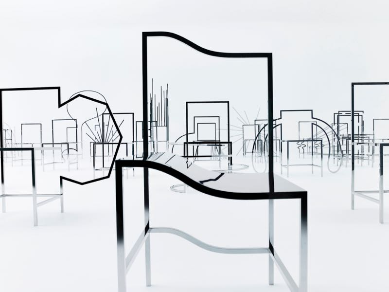 Some of the 50 'Manga' chairs by Nendo for Friedman Benda. Each one is in mirror polished stainless steel and depicts a cartoon action.
