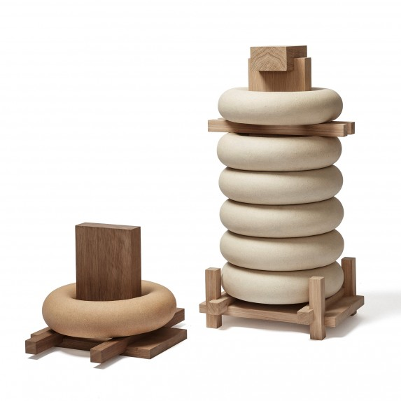 'Heavy Stack' by Maria Bruun and Anne Dorthe Vester. Made from extruded stoneware, oak and brass the pieces were shown at MIndcraft16.