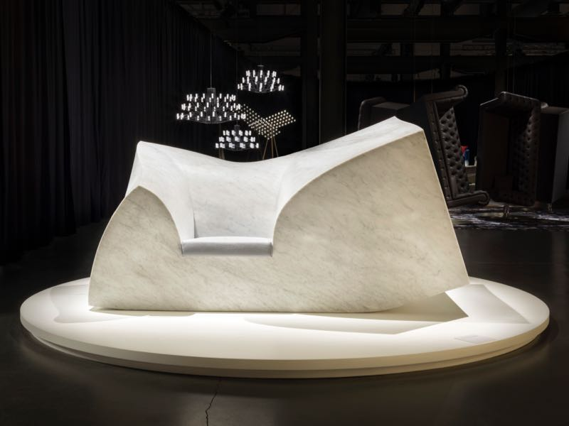 Paul Cockseedge's 'Caution: Heavy!' sofa for one made from 6 tonnes of carrara marble. Delivery not included.