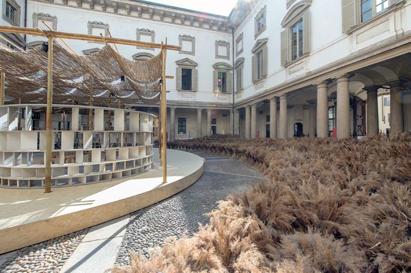 Diébédo Francis Kéré's 'Courtyard Village' at Palazzo Litta.