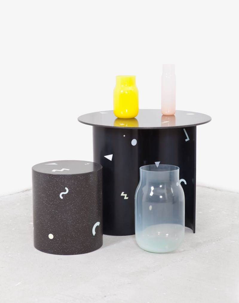 Czech glass specialists Dechem launched furniture pieces made from solid surface acrylic with Memphis-style inlays.