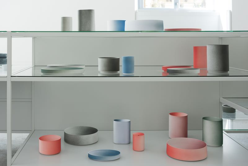 A small section of the items on display at the 2016Arita exhibition where the work of 16 invited designers was produced by traditional porcelain manufacturers from the Arita area of Japan. These vessels by Kueng Caputo. Photography Takumi Ota.
