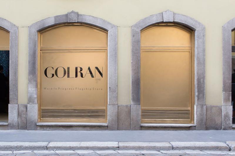 The new Golran flagship store in via Pontaccio in the Brera district.