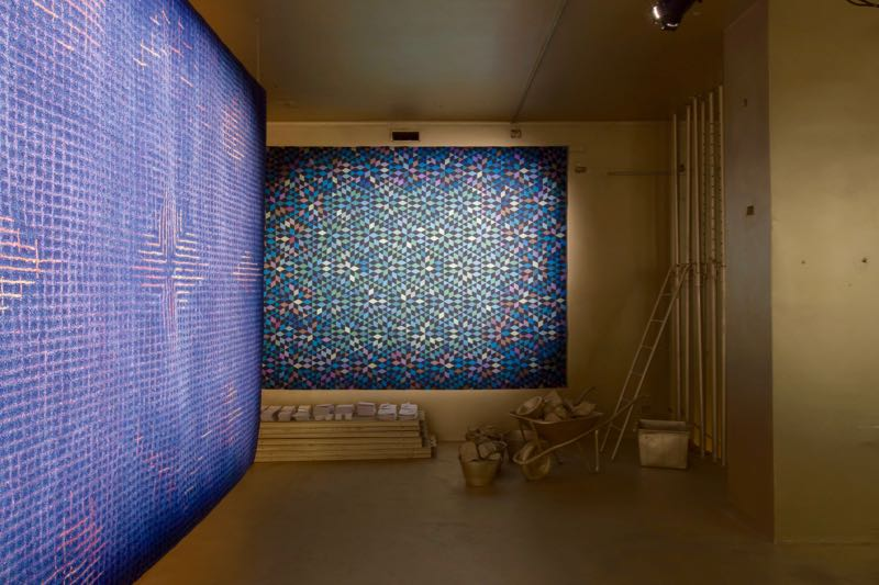 Golran's gold interior by Storage Studio with rugs by Inga Sempé (left) and Bertjan Pot (back wall).