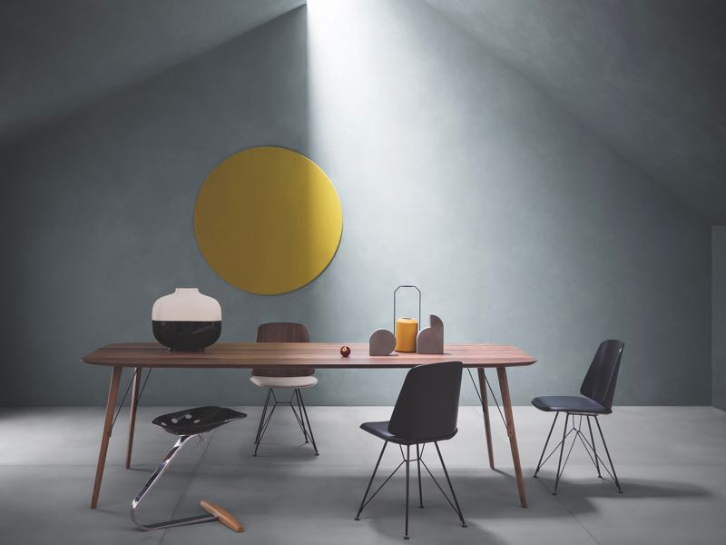 An exquisite shot of the new'June' chair seen here with last year's 'Santiago' table - both by Frank Rettenbacher for Zanotta.