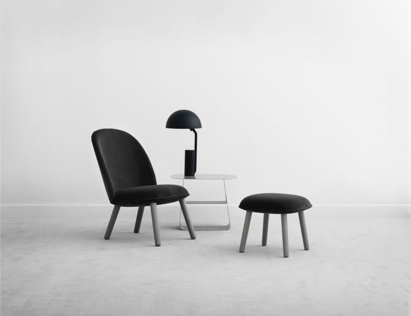 The new 'Ace' chair and footstool by Hans Horneman for Normann Copenhagen. The 'Cap' lamp and 'Stay' table in the background were released in 2015.