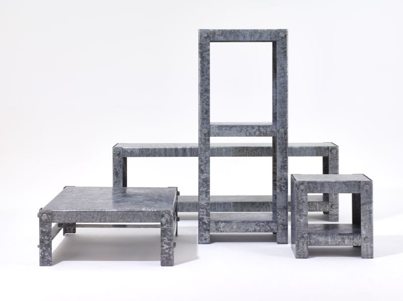There was a strong move to overtly industrial inspired pieces at this years fair. Shown here is Peter Marigold's 'Galvanised' table and storage pieces for SCP. Although launched at LDF last September they were only just in production for Milan.