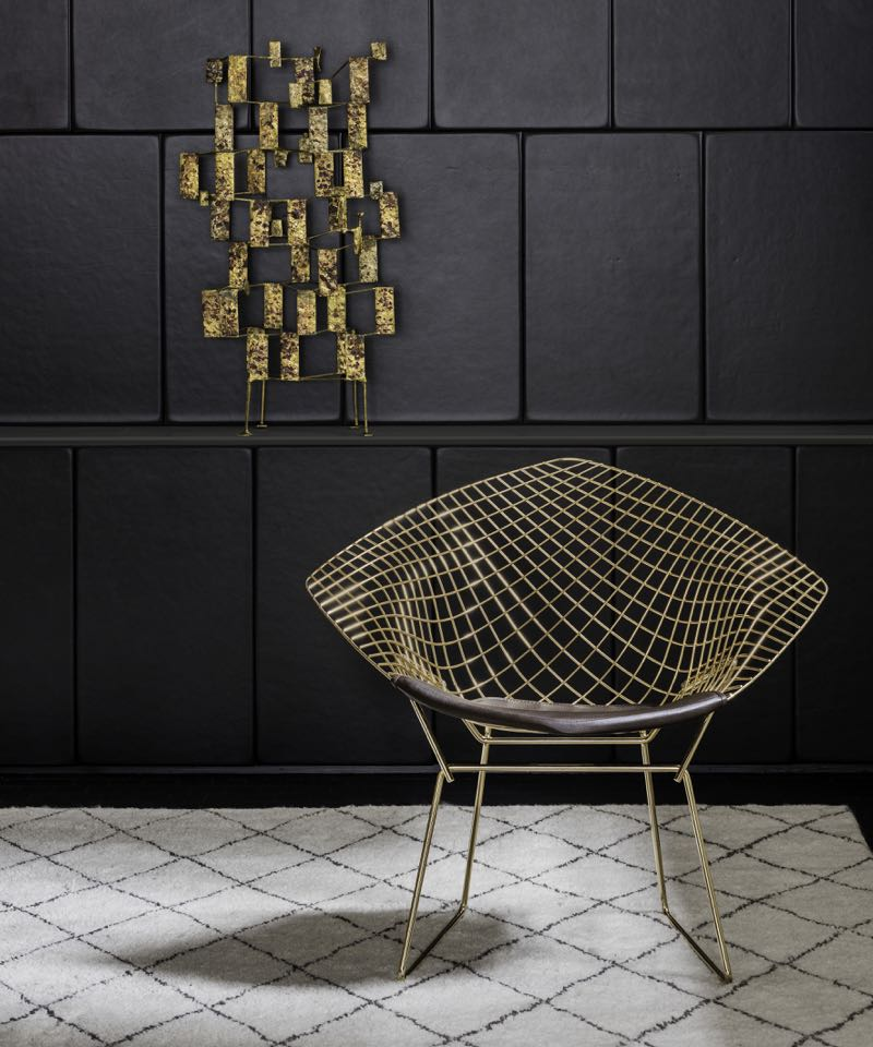 Knoll's golden 'Diamond' chair is actually plated in real gold.