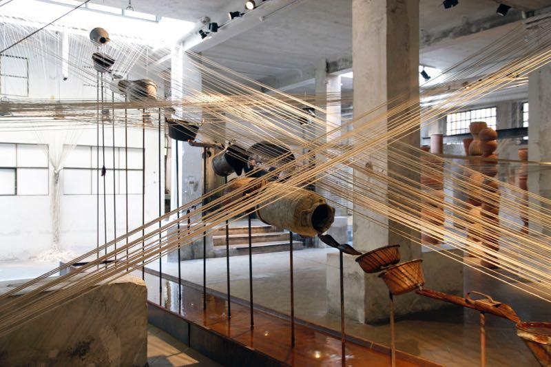 The  Terra Cotta Labirinti e Fili  installation at the Antonio Marras showroom in Tortona in conjunction with Eligo ceramics.