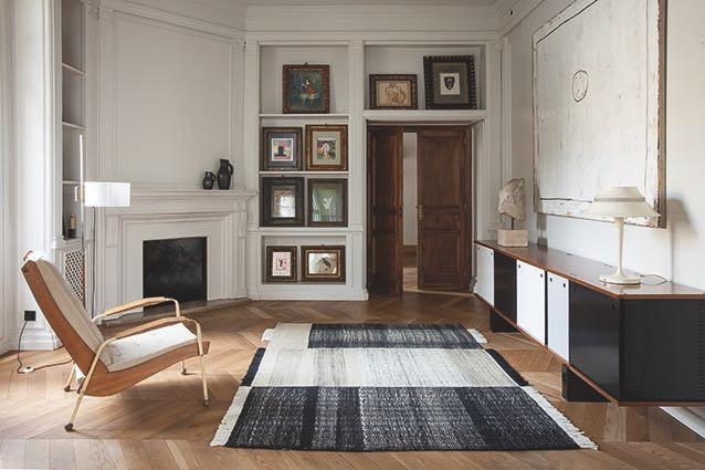 The new 'Tres' rug from Nanimarquina in a rather exquisite apartment.