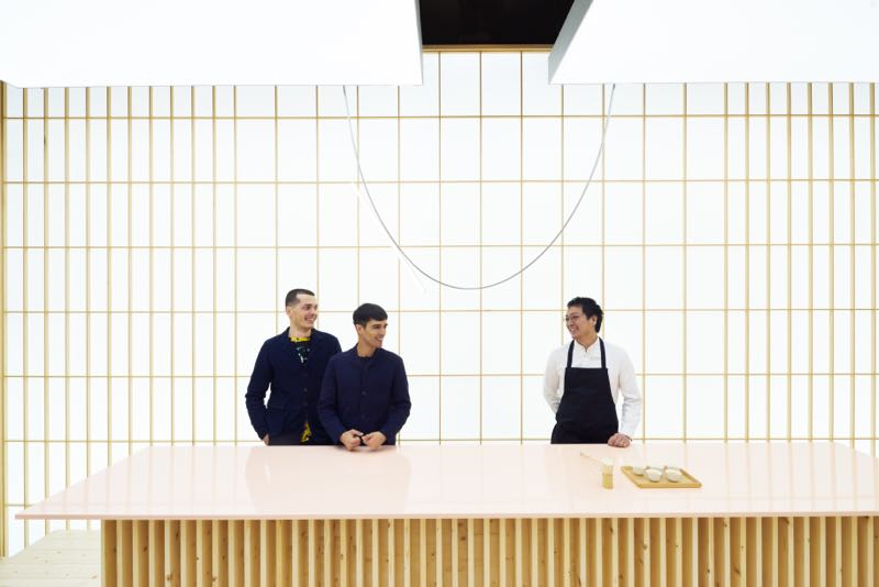 Formafantasma with Michelin star chef, Yoji Tokuyoshi against a giant shoji screen wall at  An encounter with Anticipation .
