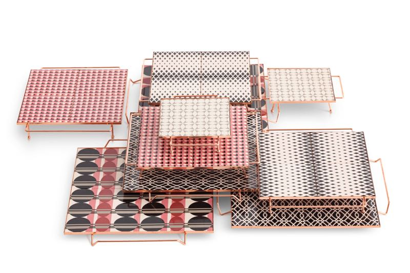 'Mix & Match' copper and ceramic tile trays by Flavia Del Pra Spanish outdoor furniture and rug brand Gan.