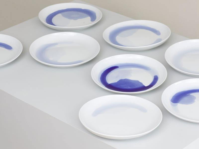 Anna Badur's 'Blue Sunday' plates - playful experiments in motion using cobalt glaze. Photo Simon Beckmann.