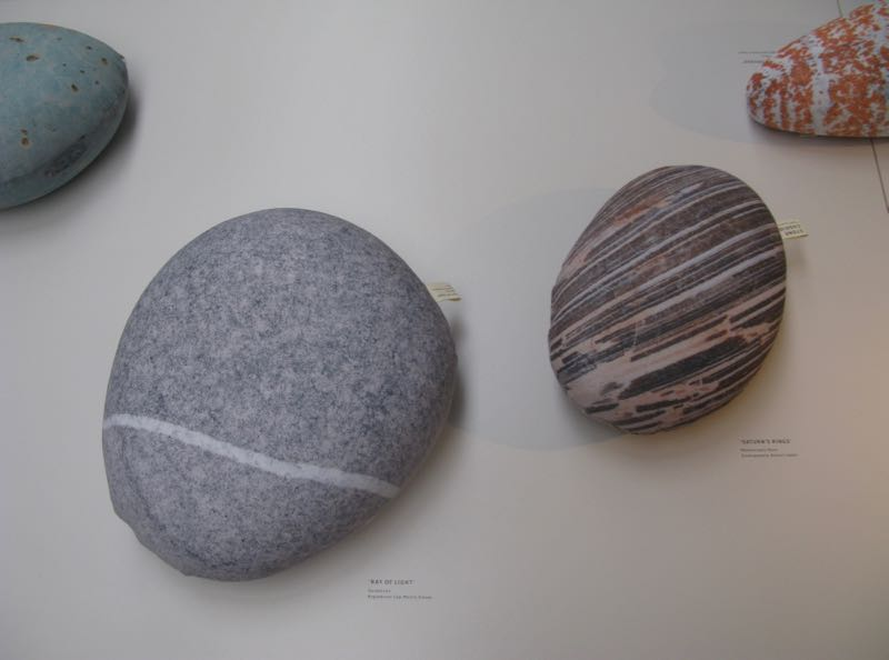 Digitally reproduced fabric cushions based on specific found stones by Japanese designers Yuki Sugiyama & Ken Okamura.