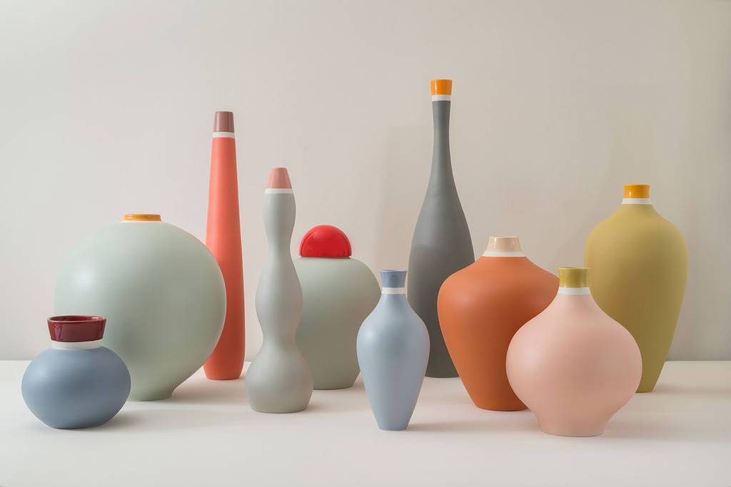 Matteo Thun Atelier's  'Vasi da Colorere' are customisable to create individual colour combinations across the 10 shapes.