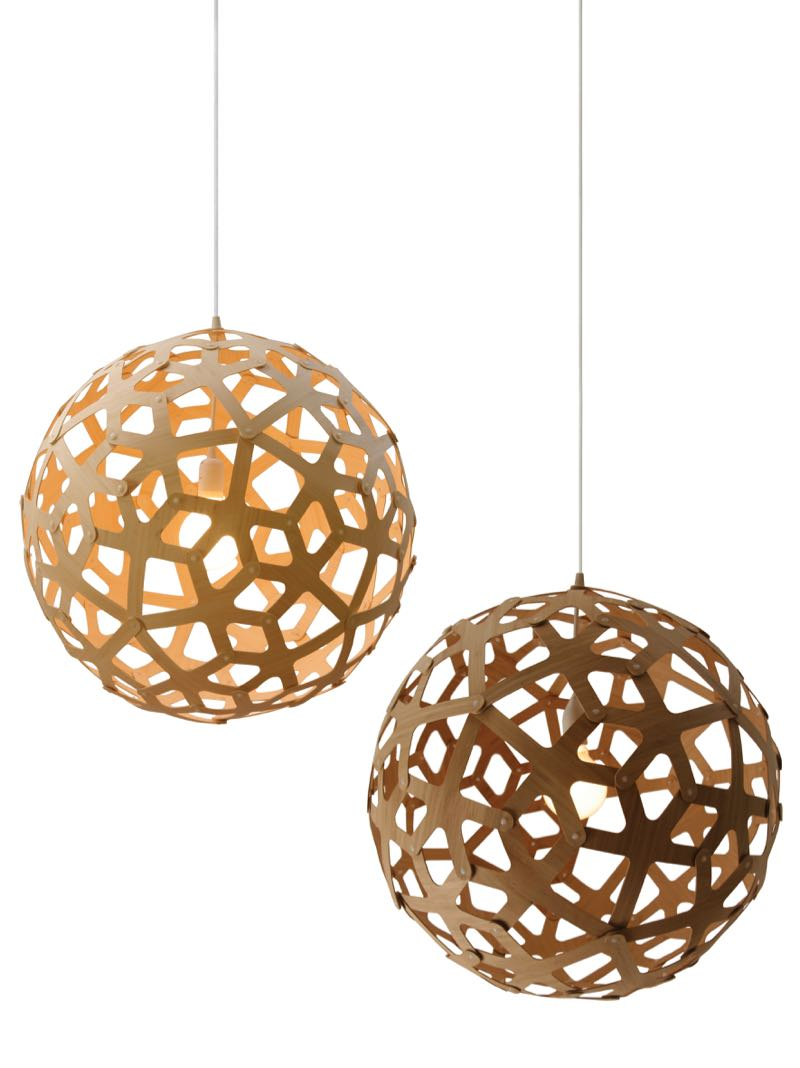 David Trubridge's famous 'Coral' lights in natural and caramel. The design was conceived with sustainability in mind so the flat pack element and the compactness of the packaging became an integral part of the design - unlike the replicas.