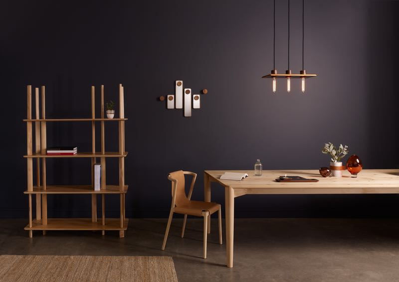 The new 'Pieman' collection from Australian brand Dessein, with new pieces by Simon Ancher, Nathan Day, Tom Fereday and Marcus Piper. The shelving by Ancher is flat pack and the leather sling of the dining chair is removable.