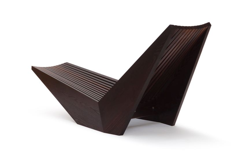 David Trubridge's 'Recliner' in heat treated ash, designed for the American Hardwood Export Council's  Seed to Seat  exhibi t  .