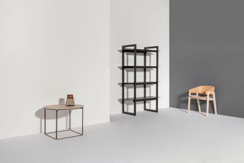 Part of the new Jam Factory furniture range - the table by Adam Goodrum, shelves by Daniel Tucker, chair by Rhys Cooper. The 'Loop' shelving comes in a variety of heights and is made from black stained oak with powder coated steel shelves.