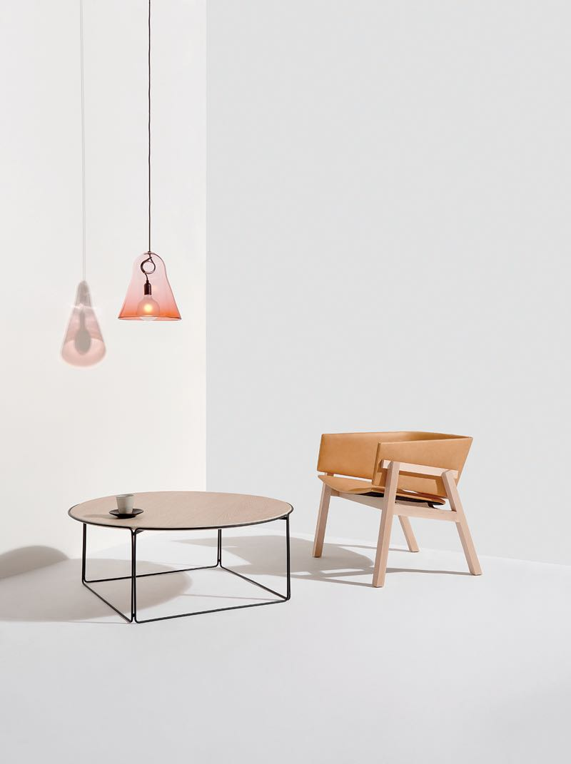 'KC' light by Karen Cunningham, 'AG' table by Adam Goodrum and 'Cusp' chair by Rhys Cooper for the Jam Factory. The light is sold in 6 colours and two sizes, the table in 3 sizes with oak plywood or marble top. The chair comes in maple or walnut.