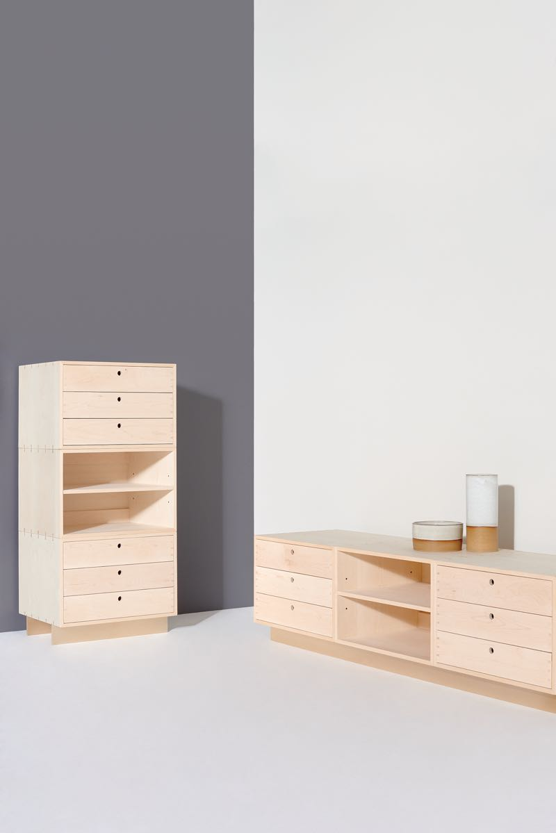 Henry Wilson's 'Block Module' cabinets - part of the new Jam Factory furniture collection. Extremely simple but with beautiful details like exposed dovetails plywood internal drawers and ball bearing runners. Available in American rock maple or walnut.