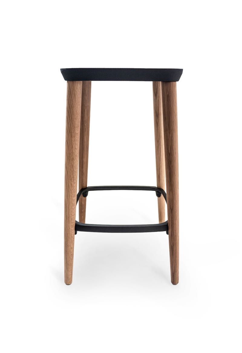 The 'Grain' stool by Jack Flanagan & Calum Campbell, has a cast alloy seat and uses screw-on timber legs.