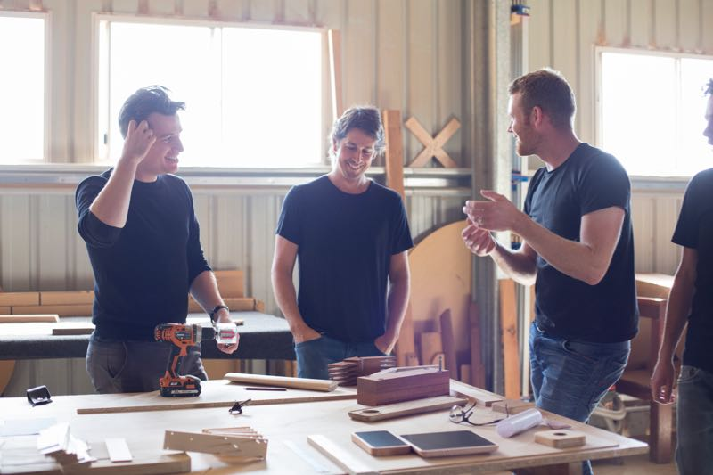 Three of four designers selected by MIchele Chow to create Dessein's new 'Pieman' collection. L to R: Tom Fereday (Sydney, NSW), Nathan Day (Dunsborough, WA) and Simon Ancher (Launceston, Tas).