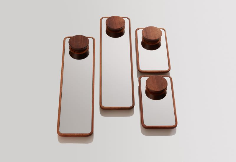 The 'Float' mirrors share the same concept as the 'Float' trays but replace laminate with mirror and add a turned component.