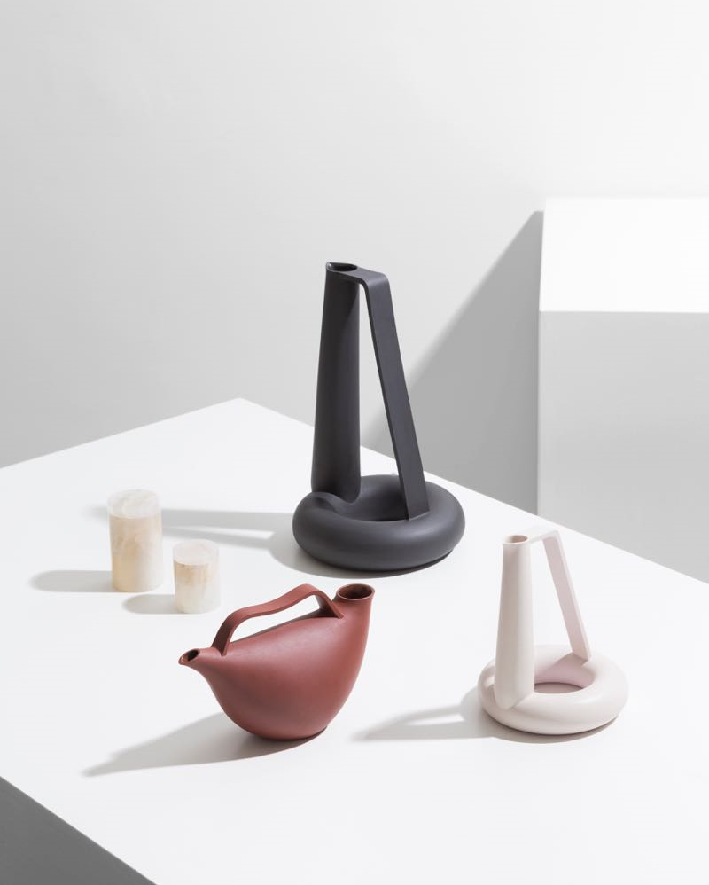 The ceramic component of the new 'Delta' collection by Formafantasma for Galleria O. Roma on show at Design Miami / Basel. The dark red vessel is for vinegar, the black one for water and the white one for oil.