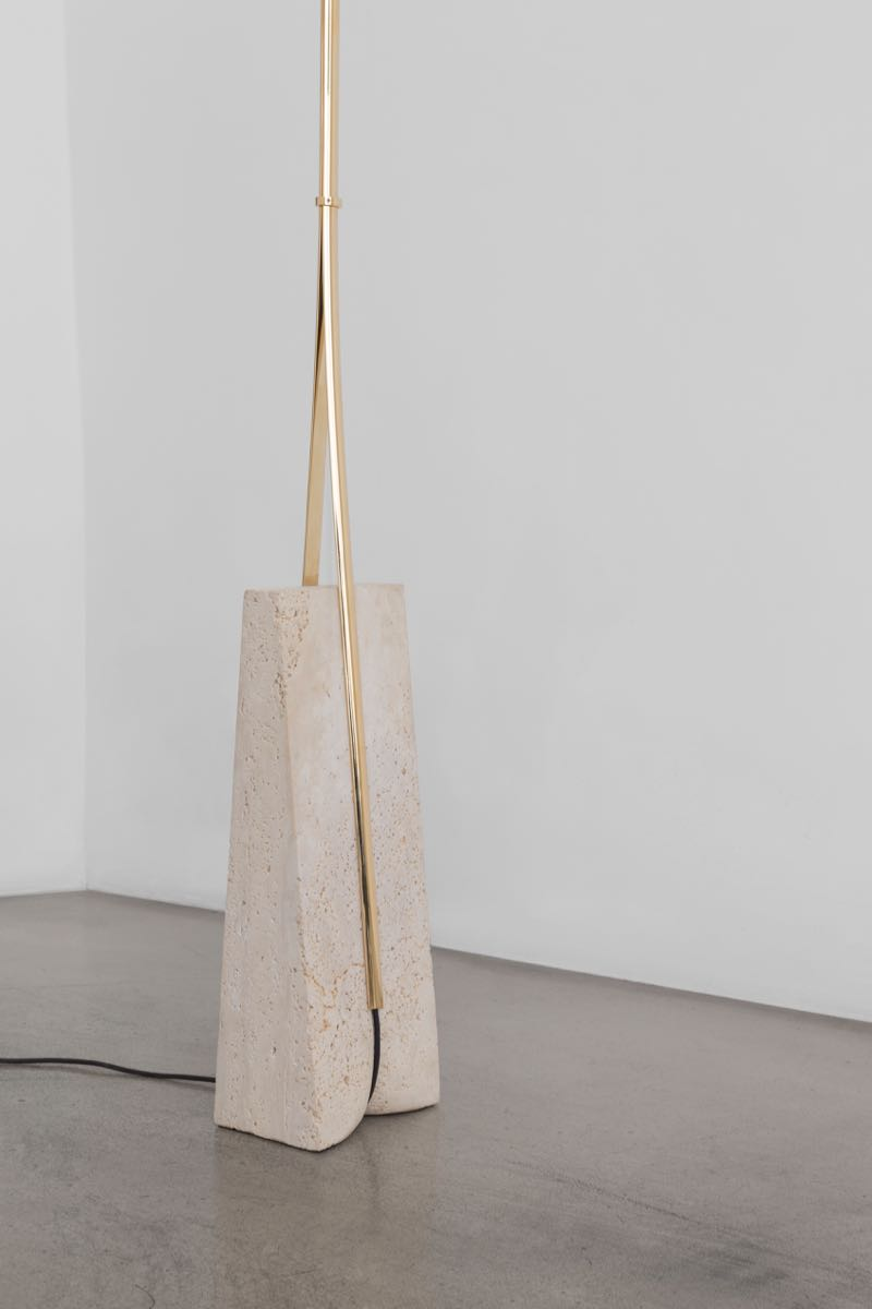 Close-up of the travertine base of the 'Magnifier' floor lamp by Formafantasma for Galleria O. Roma, 2016.