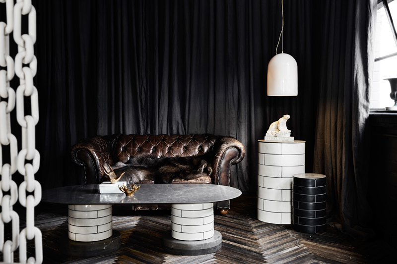 """The new """"black"""" room at the rear of the Porcelain Bear showroom in Melbourne's Collingwood."""