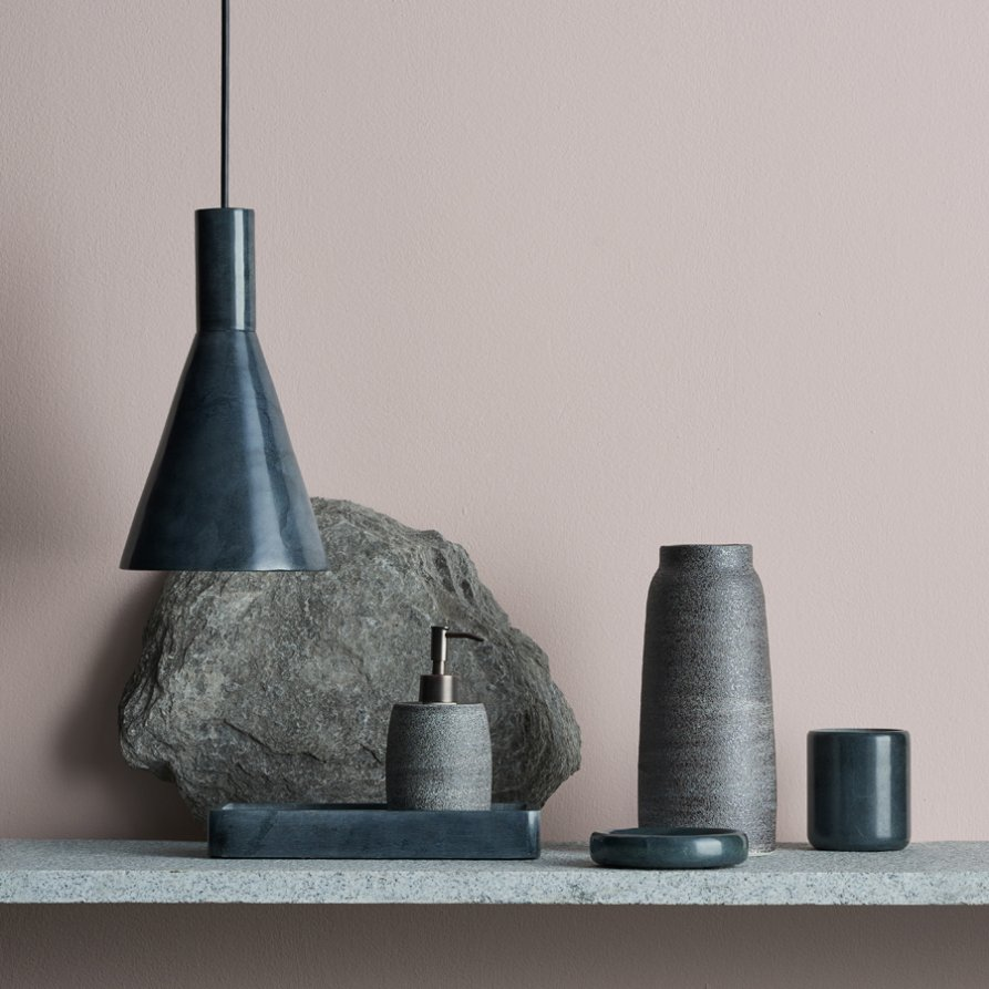 The 'Gibson' pendant and other soapstone objects from the 'Infinitude' range by Cindy Lee Davies for Lightly.Photo Lachlan Moore, styling Andrea Moore.