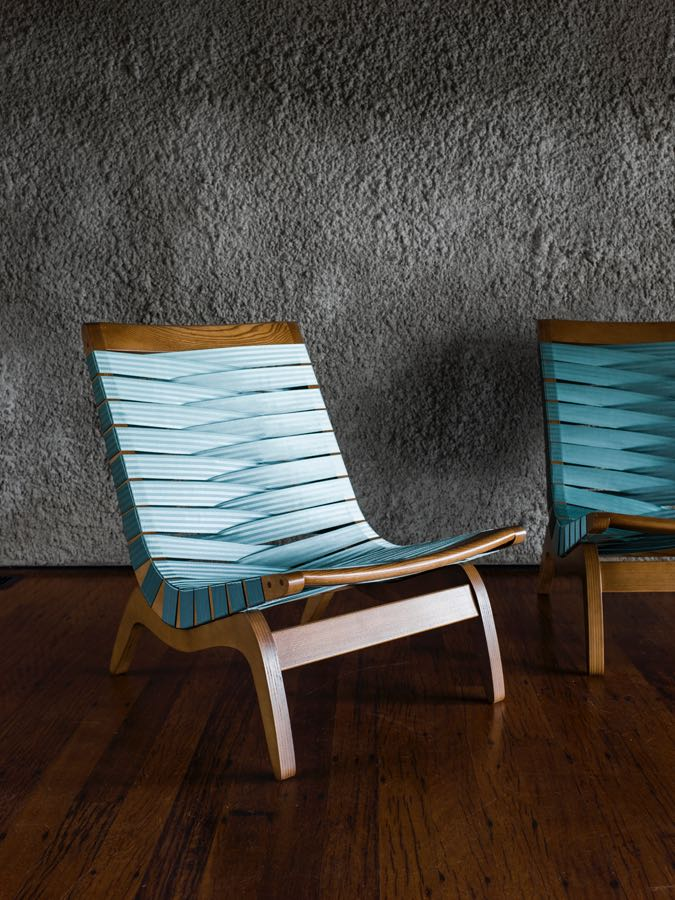 The 'Relaxation' webbed chair from 1947 was one of Featherston's first designs. Webbing was a popular post-war material.