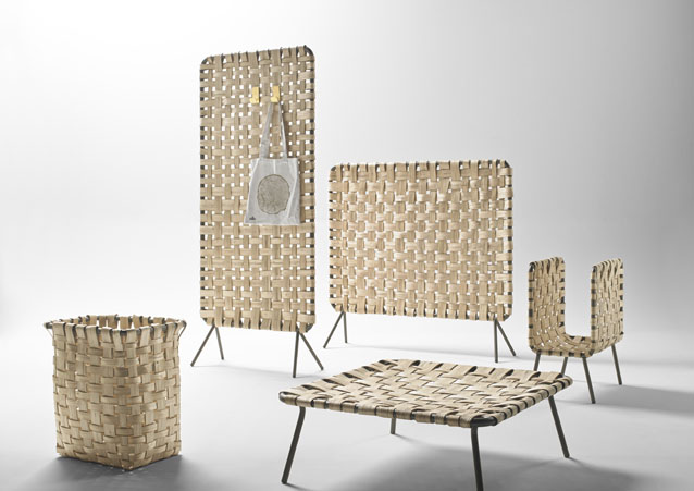 The Zumitz collection by Iratzoki & Lizaso for French brand Alki.Screens, storage, table &basket all made from slivers of hand woven green chestnut wood.