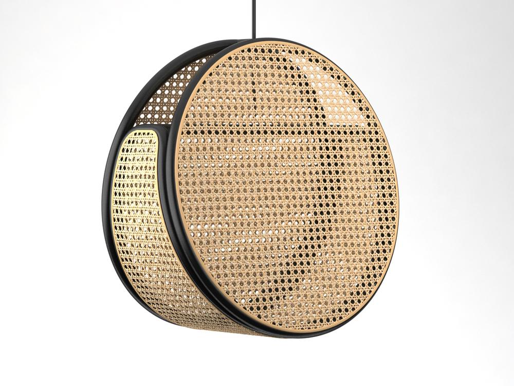 Australian design Denis Abalos' 'Jacaranda' pendant light in ebonised rattan &woven split cane.