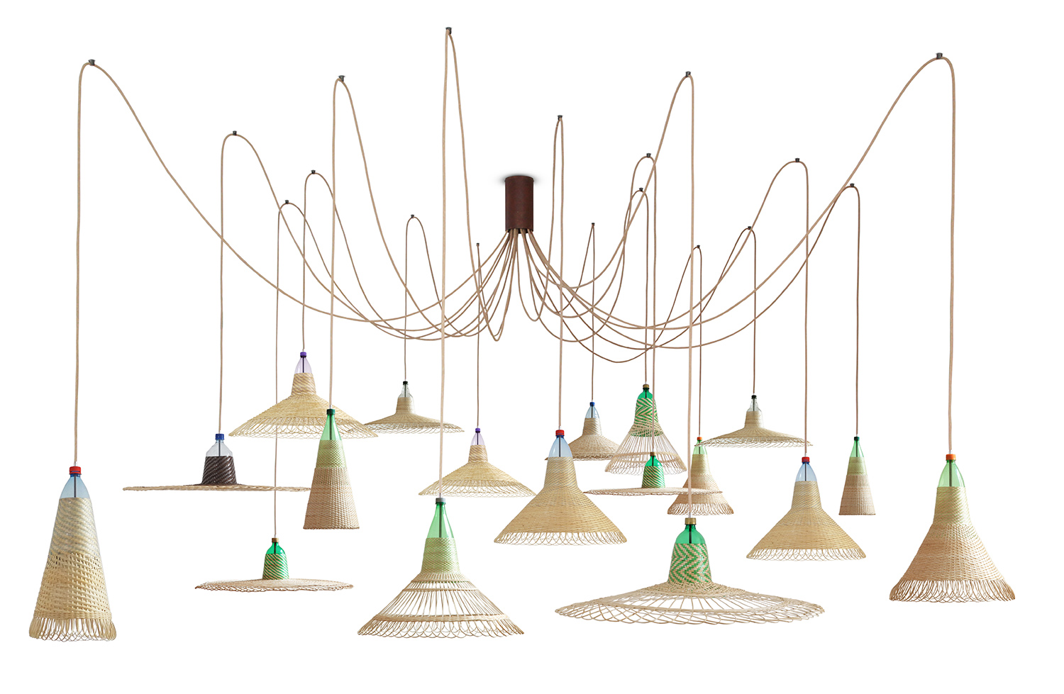 The 'Chimbarongo' lights from PET LAMPS are made in Chile utilising recycled soft drink bottles as the shape former for the woven material. This version is the 18 lamp chandelier.