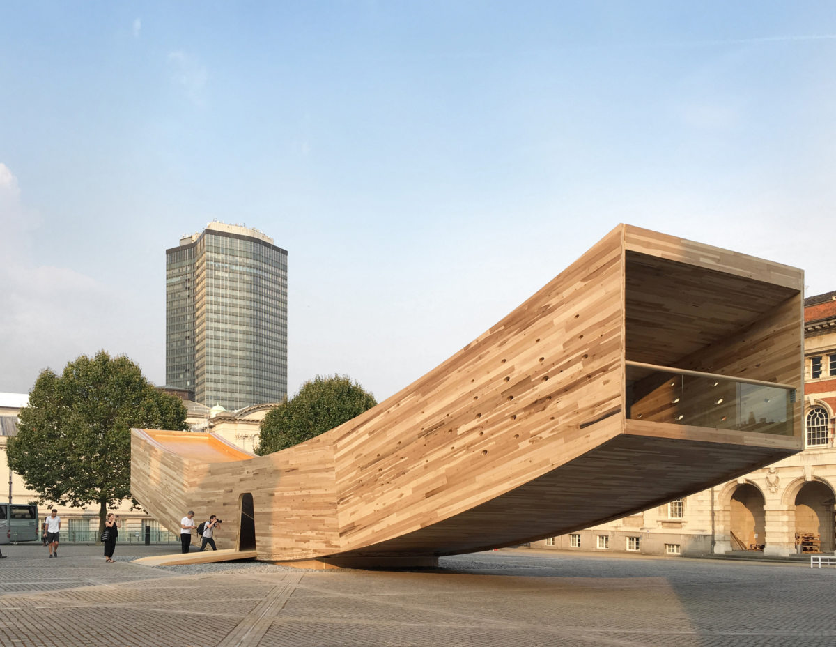 Alison Brooks' The Smile pavilion is 34 metres long and made from lots of American Tulipwood.