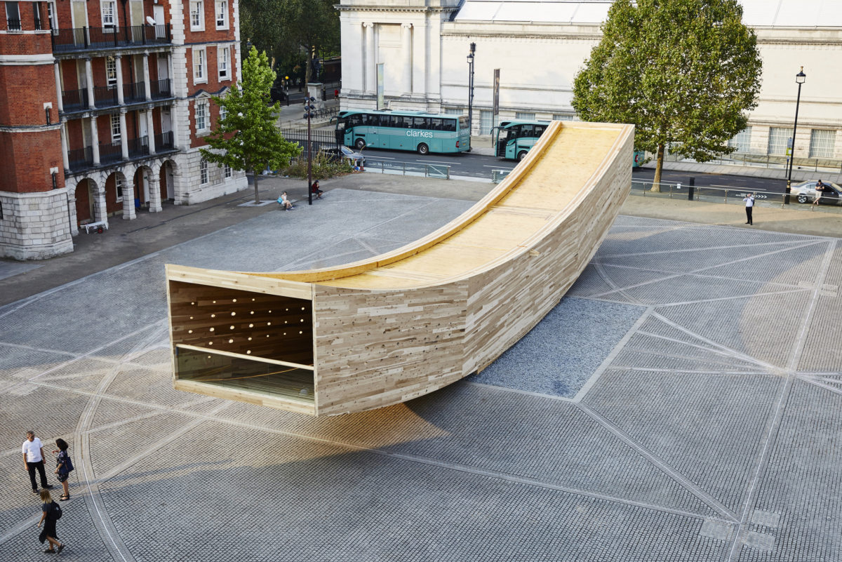 Alison Brooks Architect's  The Smile  pavilion gracing the forecourt of the Chelsea College of Art.