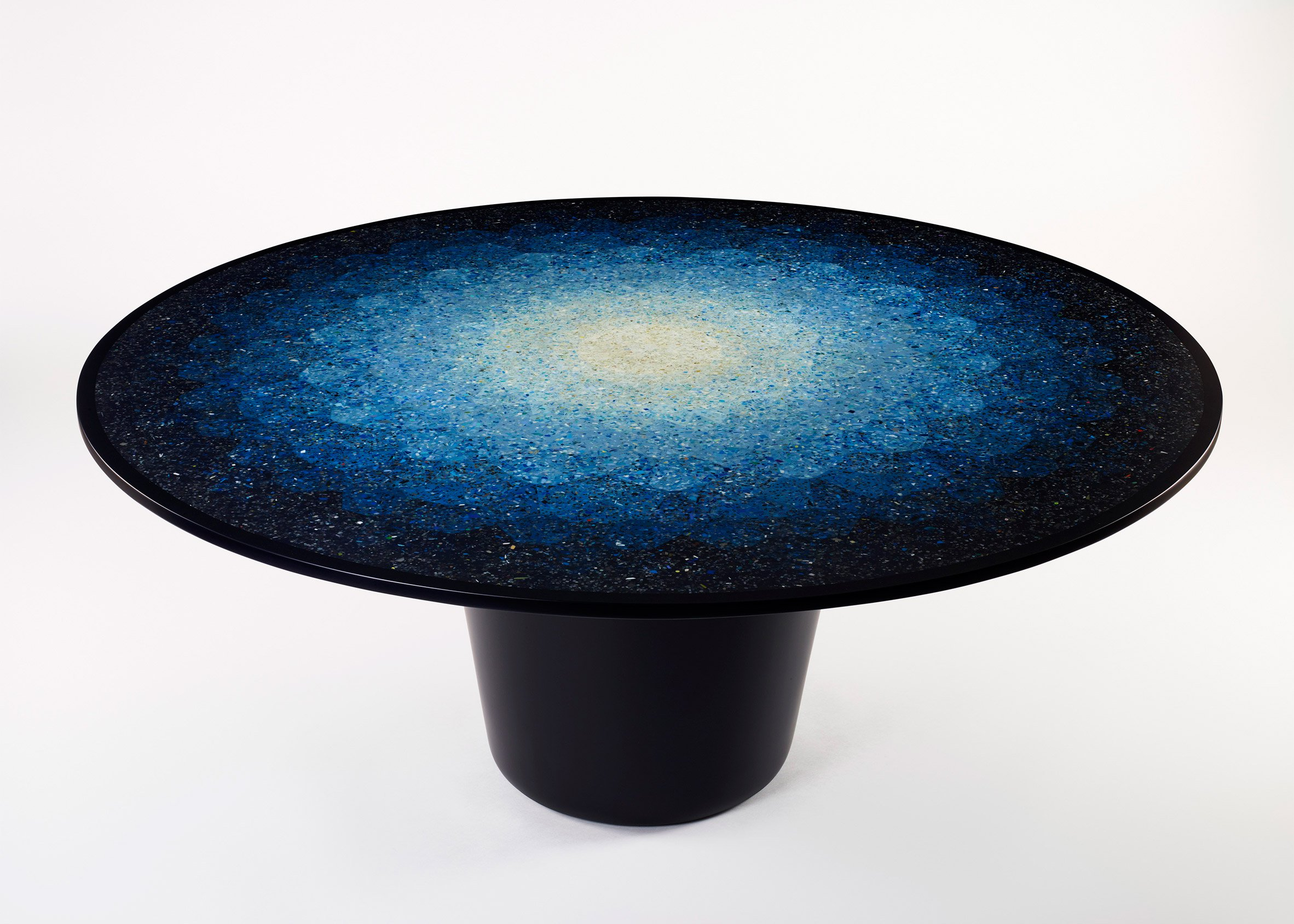 Brodie Neill's jewel-like 'Gyro' table made from recycled ocean plastic was the Australian entry at the inaugural London Design Biennale. Washed up plastic debris is a real problem for Tasmania.