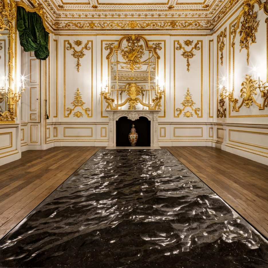 Liquid marble. Mathieu Lehanneur's 'Marble Sea' replicates the look of water in jet black marble.The installation was a fascinating contrast to the V&A's ornate Norfolk House Music Room.
