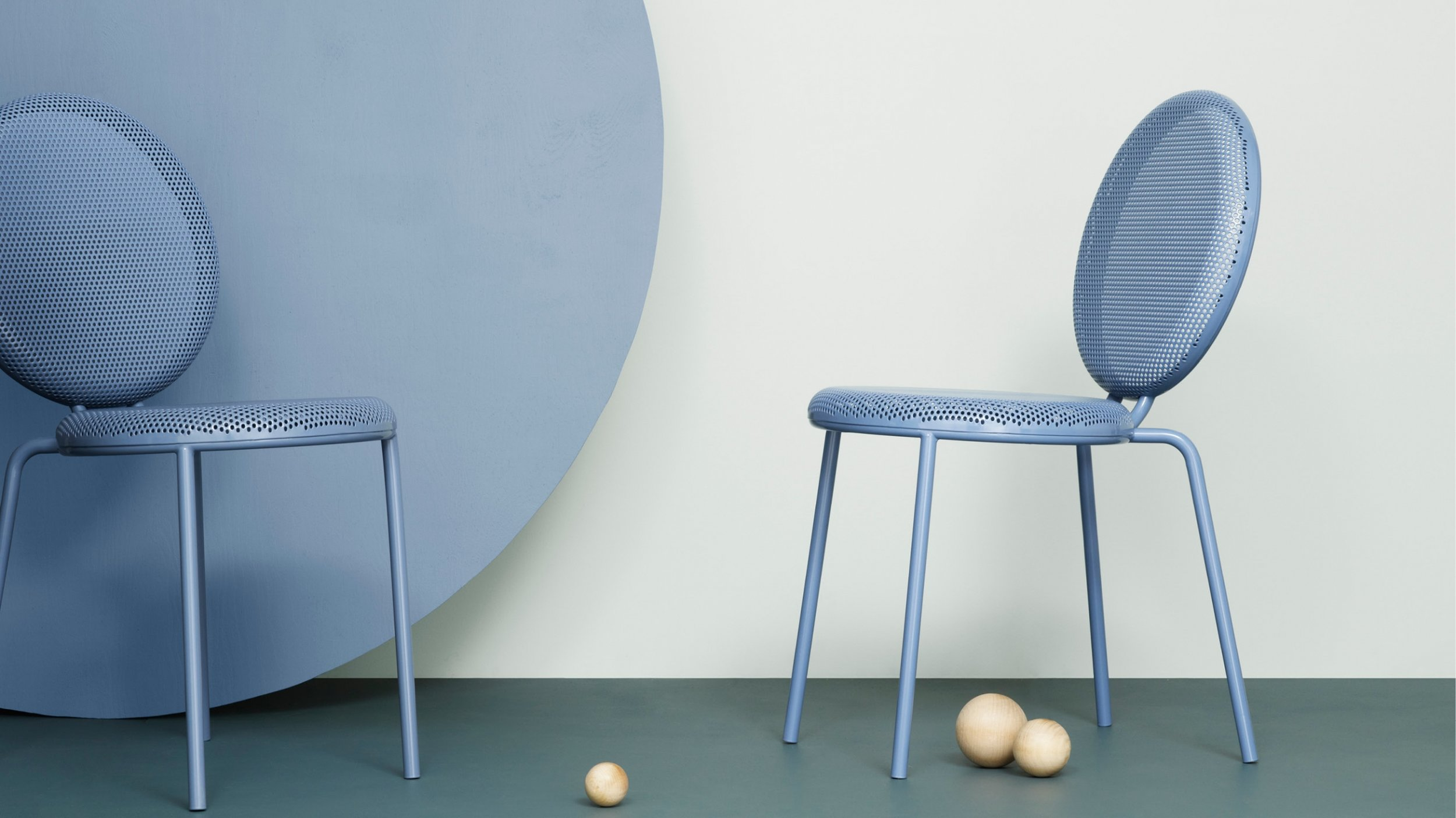 'Dimma' chair by Alexander Lervik for Tingest. The range also consists of a stool and table in the same perforated steel style.