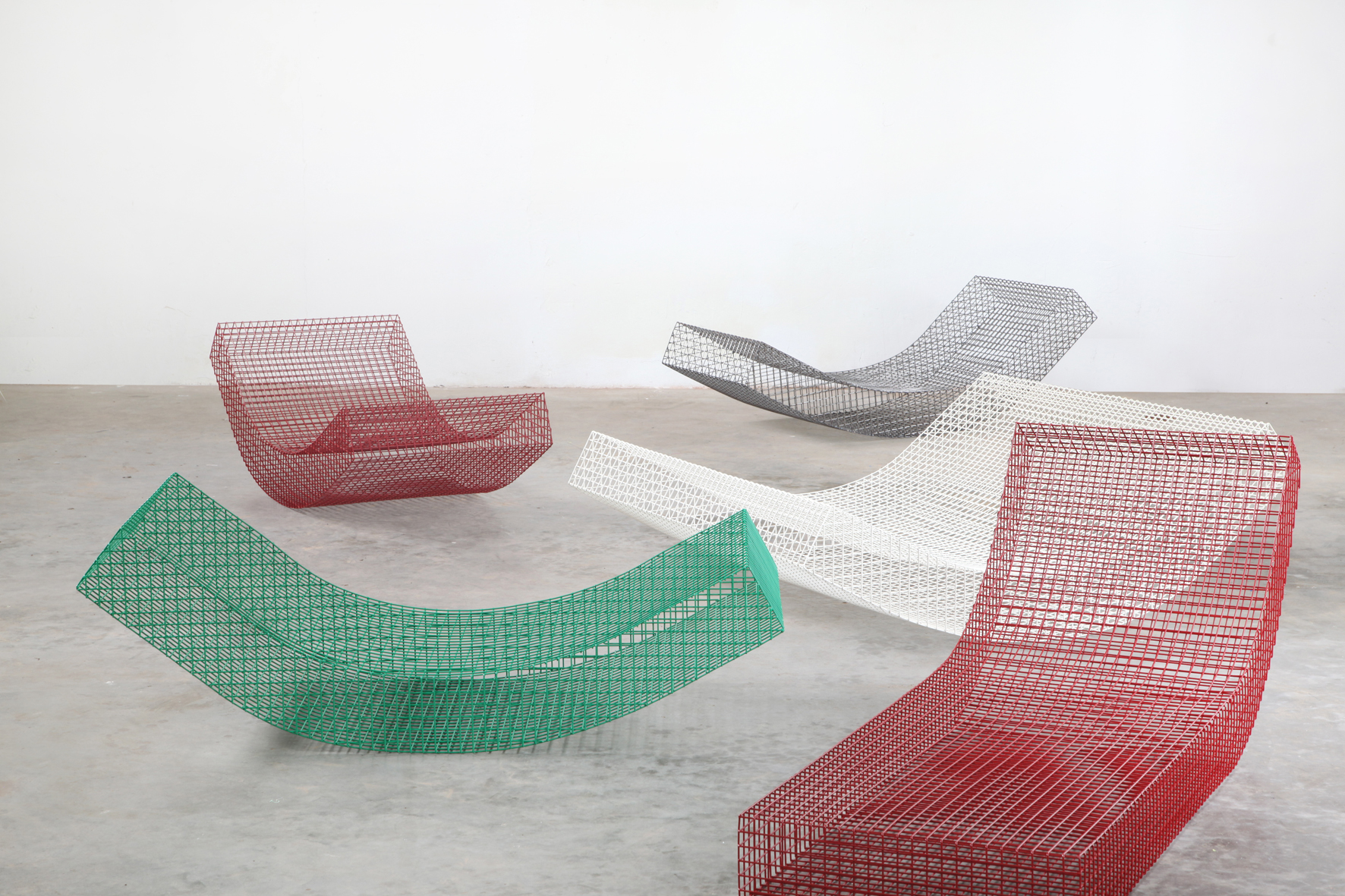 Muller van Severen's highly transparent 'Wire S' chaise was on show at  Bare Minimum,  an exhibition at Viaduct's showroom in Farringdon. The chair is made from powder coated stainless steel and was inspired by a curled mattress laying on the floor.