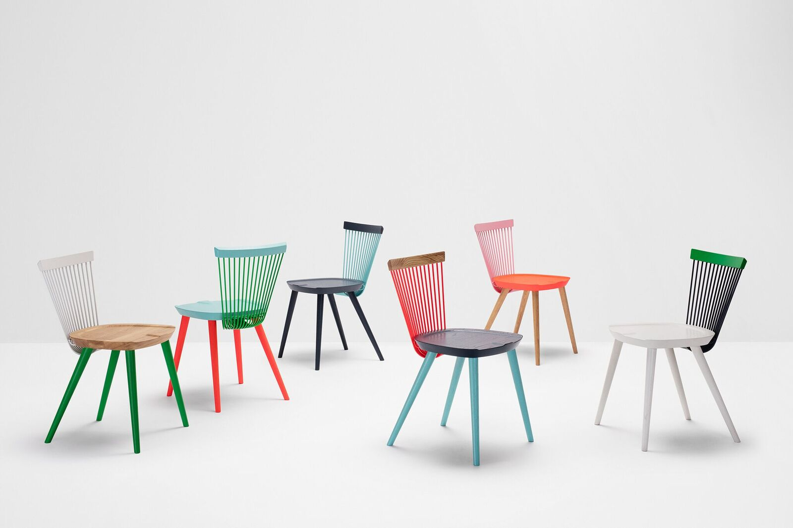 The 'WW' chair from H Furniture in it's limited edition colourful incarnations