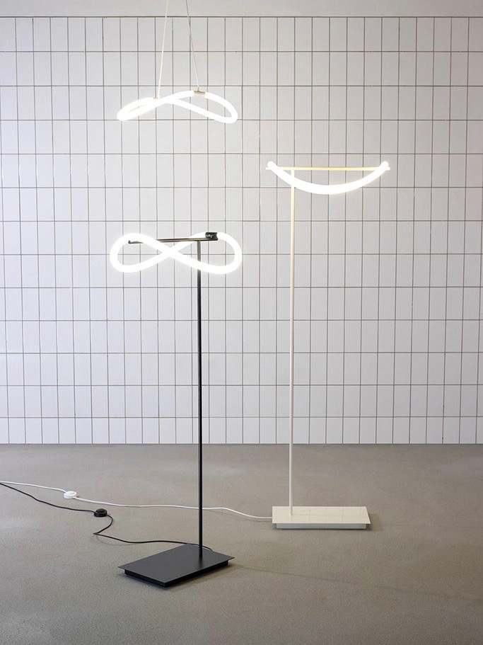 The flexibility of Studio Truly Truly's 'Levity' lights shown in floor and pendant form.