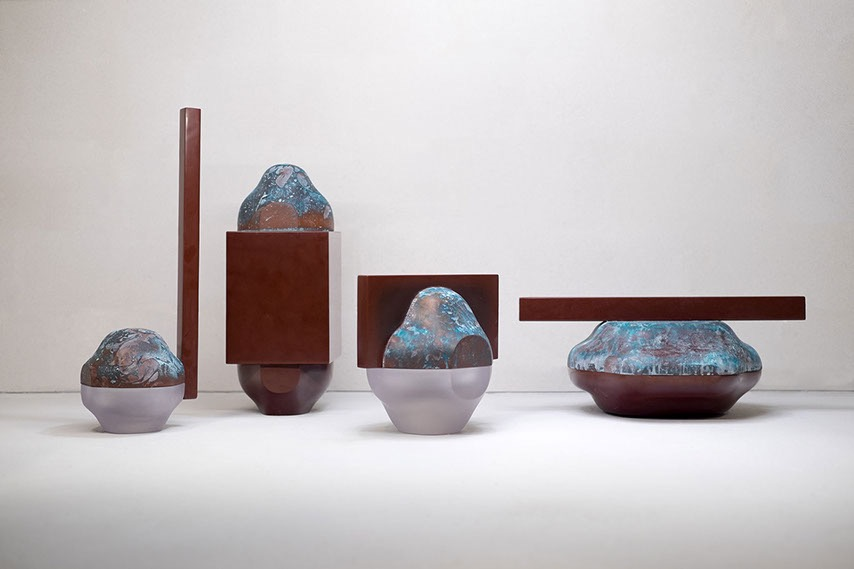 'Abide' vessels by Studio Truly Truly as seen at the  Dutch Invertuals Advanced Relics  exhibition. The vessels are made with copper rich resins with timber handles. Photograph by Ronald Smits.