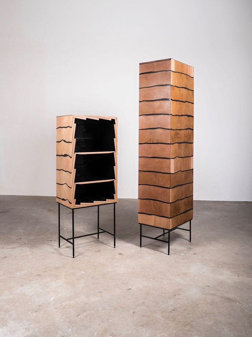 Studio Truly Truly's 'Fuse' cabinets emphasise randomness and structure in a beautiful way.
