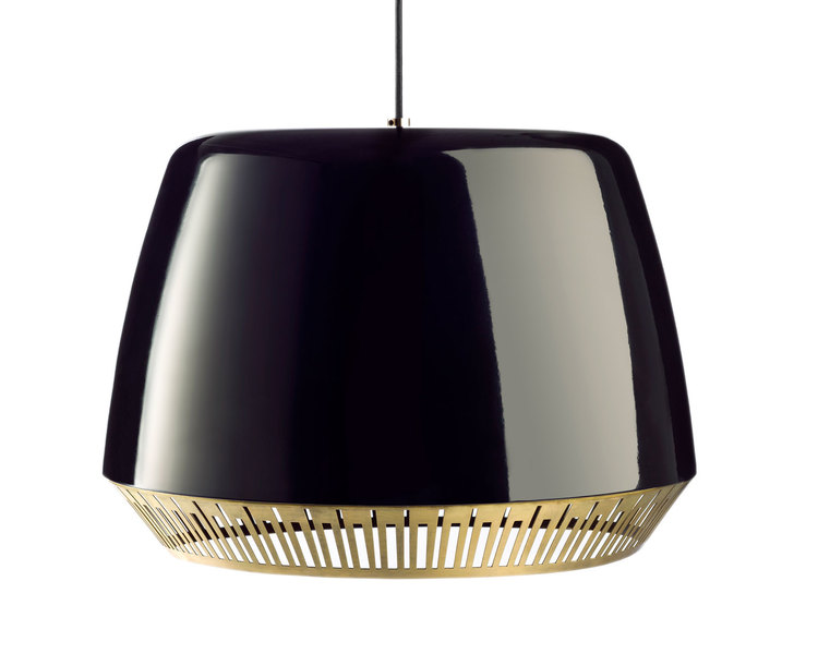 Anaesthetic's 'Bezel' light in spun aluminium finished in gloss black (also in blue and white) with brass rim detail.